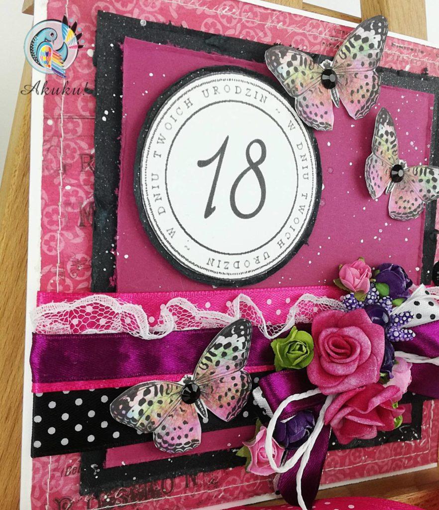 Kartka na 18 urodziny ręcznie robiona z ozdobami | Akuku