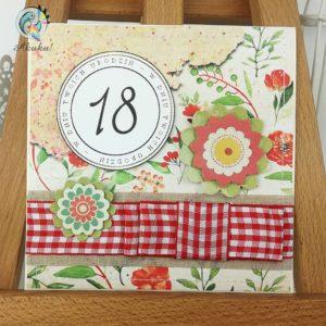 Kartka z okazji 18 urodzin dla dziewczyny czerwona łąka