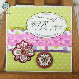 Kartka z okazji 18 urodzin dla dziewczyny limonka fuksja