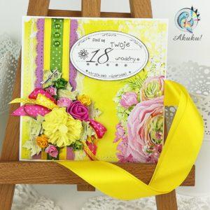 Kartka z okazji 18 urodzin dla dziewczyny żółta