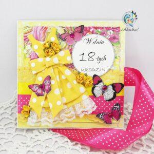 Kartka z okazji 18 urodzin dla dziewczyny żółta sukienka