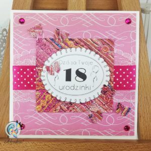 Kartka z okazji 18 urodzin dla dziewczyny fuksja tkanina hindi