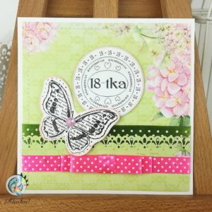 Kartka z okazji 18 urodzin dla dziewczyny hortensje stempel motyl
