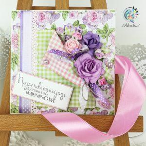 Kartka imieninowa fioletowa - róże