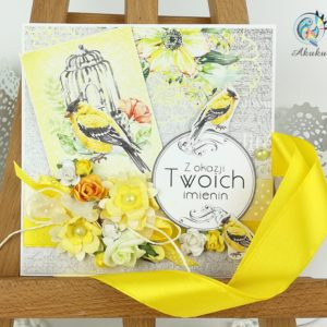 Kartka imieninowa żółto-srebrna z ptaszkiem