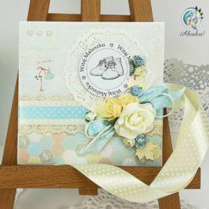 Kartka z okazji narodzin dla chłopca pastele bocian