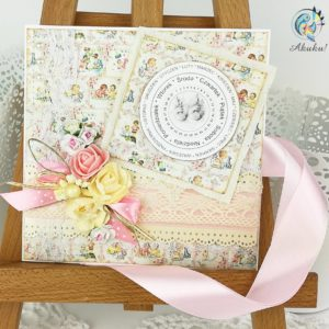 Kartka z okazji narodzin dla dziewczynki kolorowy papier