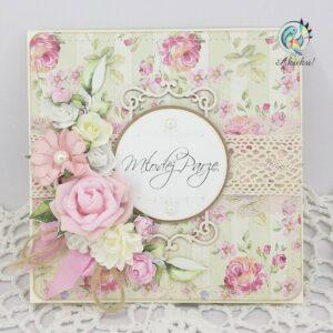 Kartka ślubna krem róże ramka