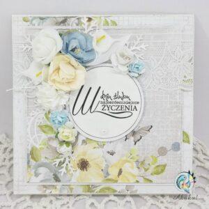 Kartka ślubna błękit z różami