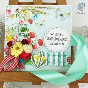Kartka urodzinowa maki motyle zboże
