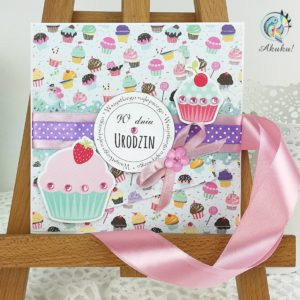 Kartka urodzinowa dla dziewczynki mufinki